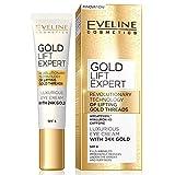Eveline Cosmetics Gold Lift Expert | 15 ML | Luxuriöse Goldene Creme für unter die Augen und die Augenlieder | Faltenfüller | Reduziert Augenringe