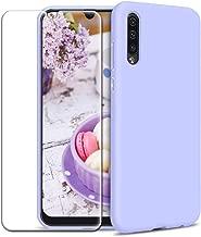 Funda Samsung Galaxy A50 + Protector de Pantalla de Vidrio Templado, Carcasa Ultra Fino Suave Flexible Silicona Colores del Caramelo Protectora Caso Anti-rasguños Back Case - Morado Claro