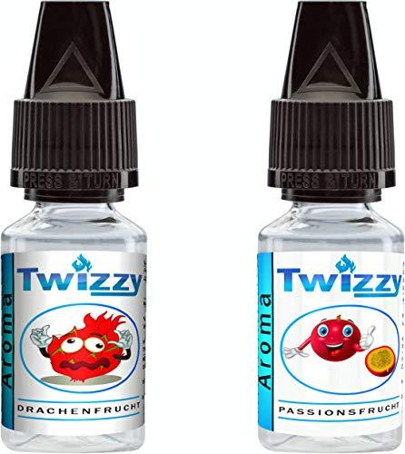 2 x 10ml Twizzy® Tropic Aroma Bundle   Drachenfrucht, Passionsfrucht   Aroma für Shakes, Backen, Cocktails, Eis   Aroma für Dampf Liquid und E-Shishas   Ohne Nikotin 0,0mg   Flav Drops