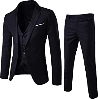 Men's Suit Slim Fit One/Two Button 3 Piece Suits Jacket Vest & Trousers