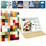 DuraSafe Cases For iPad 4 / iPad 3 / iPad 2 - 9.7 Inch MD510LL/A MD513LL/A MD514LL/A MC705LL/A MD328LL/A MD333LL/A Slim Book Cover with Auto Wake/Sleep Feature - Color Grid