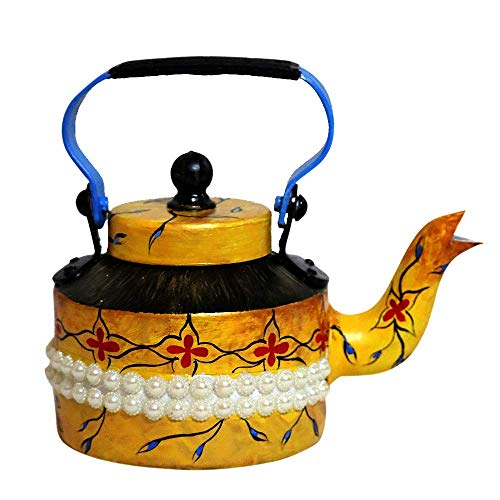 VintFlea Aluminium Modern Interior Hand Painted Mughal Design Decorative Tea Kettle Pot, Yellow
