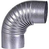 FIREFIX A100/B Fal Arco 90°, rígido, Ø 100 mm – Tubo de Estufa de Chapa de Acero, 0,6 mm de Grosor, Interior Biselado, Longitudes soldadas por láser, Plata