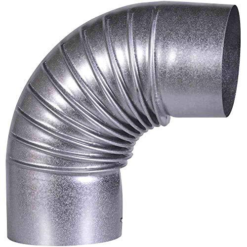 FIREFIX A100/B FAL Bogen 90°, starr, ø 100 mm-Ofenrohre aus Stahlblech, 0,6 mm stark, innenliegend gemufft, Längen lasergeschweißt, Silber