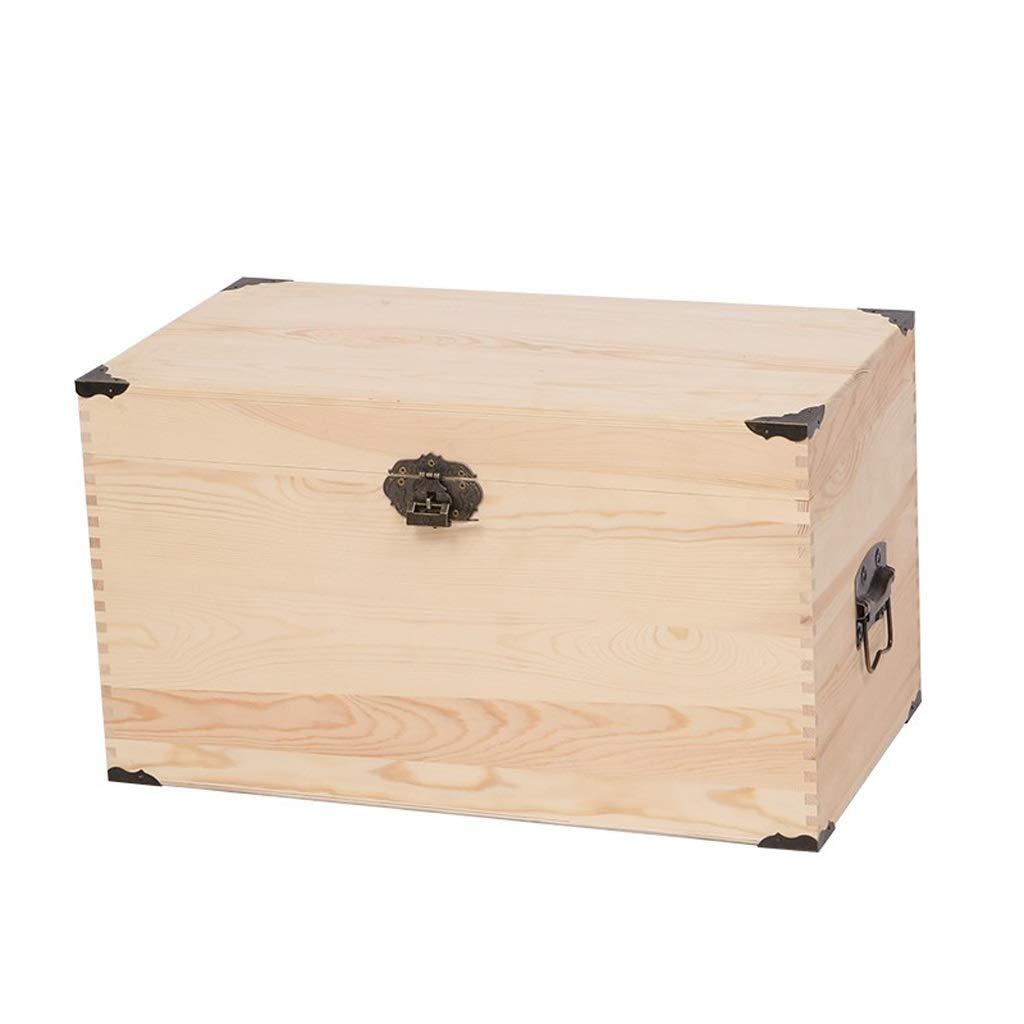 Caja de almacenamiento grande de madera para juguetes, caja de almacenamiento con tapa y asa para guardar documentos, objetos de valor y herramientas, color Wood color 55 * 30 * 30cm: Amazon.es: