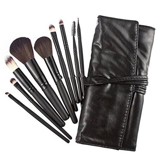 Lot de 9 pinceaux de maquillage en poils de chèvre véritables dans un sac de transport noir
