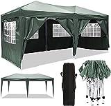 Oppikle Gazebo Pieghevole da 3m x 3m,Tenda da Giardino Pieghevole/Retrattile, Impermeabile, Rivestimento in PVC,Gazebo per Feste, Tour, Picnic (3x6m Verde)