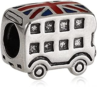 London Double Decker Bus Charm 925 Sterling Silver Beads fit for DIY Charms Bracelets