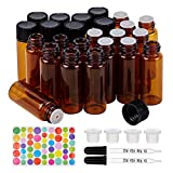 BENECREAT 40 Pack 5ml Amber Brown Orifice Reduce Essential Oil Bottles with Glass Droppers and Colorful Labels for Aromatherapy Fragrance Oils