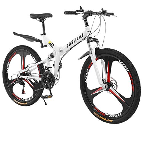 SUMMITGLORY Mountain Bike, 26 Inch Wheels Mountain Bike with 21 Speed Folding, Dual Disc Brakes Full Suspension Non-Slip Suitable for Mountain/Wasteland/Roads/Cities/Beaches/Snow