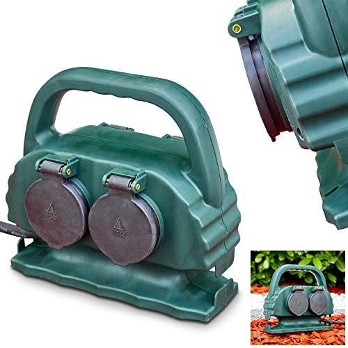 Außensteckdose Emmerleff aus Kunststoff in Grün, Gartensteckdose mit Erdspieß für den Aussenbereich, 4-fach Steckdose m. 10m Kabel für den Garten