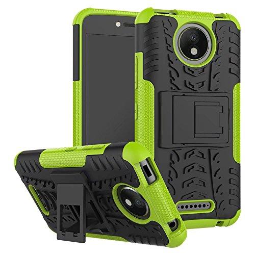 Sunrive Hülle Für Lenovo Moto C Plus, Tasche Schutzhülle Etui Hülle Cover Hybride Silikon Stoßfest Handyhülle Hüllen Zwei-Schichte Armor Design schlagfesten Ständer Slim Fall(grün)