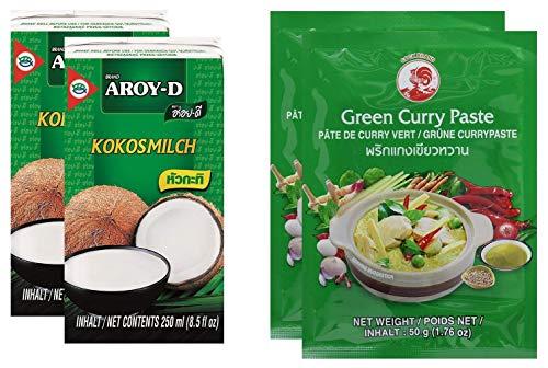 Paquete de 2 Leche de coco AROY-D [2x 250ml] Cocosmilc - Leche de coco + Cock Curry Paste 50g verde (2x50g)