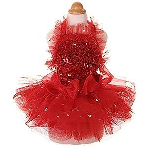 MaruPet Fashion Sweet Puppy Dog Blingbling Princess Skirt Pet Dog Lace Cake Camisole Tutu Dress Red XL