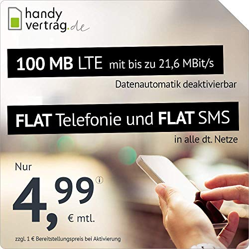 handyvertrag.de LTE All 100 MB - monatlich kündbar (Flat Internet 100 MB LTE mit max. 21,6 MBit/s mit deaktivierbarer Datenautomatik, Flat Telefonie, Flat SMS und EU-Ausland, 4,99 Euro/Monat)