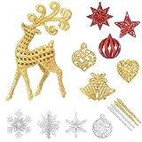 Aitsite Adornos Arbol Navidad 13 Piezas de Copo de Nieve Plástico Colgante Adorno con Purpurina Decoración Adornos de Navidad para el Arbol de Fiesta Hogar Decoraciones para Festivales