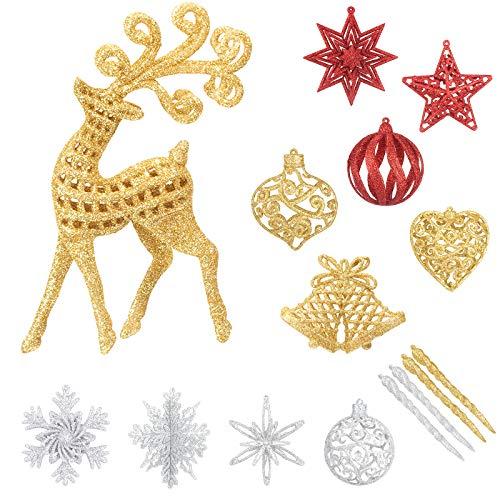 Aitsite Ornamenti Vuoti con Glitter per Natale,Set di 13 Oggetti da Appendere in Plastica 3D Misti per Feste di Matrimonio e Decorazioni per la Casa dell'albero di Natale (5 Oro + 5 Argento + 3 Rosso)