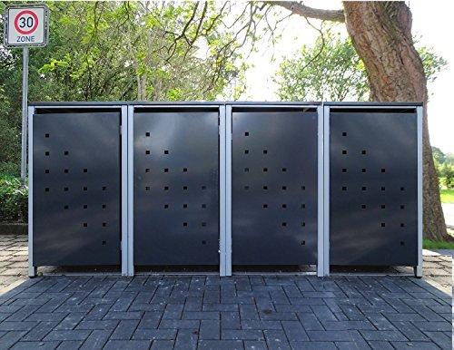 4 Mülltonnenboxen Modell No.3 Anthrazitgrau für 240 Liter Mülltonnen / witterungsbeständig durch Pulverbeschichtung / mit Klappdeckel und Fronttür