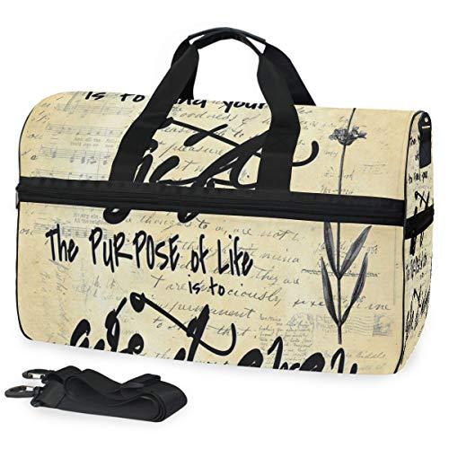 Picasso Sinn des Lebens mit inspirierendem Zitat der Blume 02 große Reise-Seesack-Einkaufstasche-Wochenenden-Übernachtreisetasche Turnbeutel-Eignungssport-Tasche mit Schuhfach