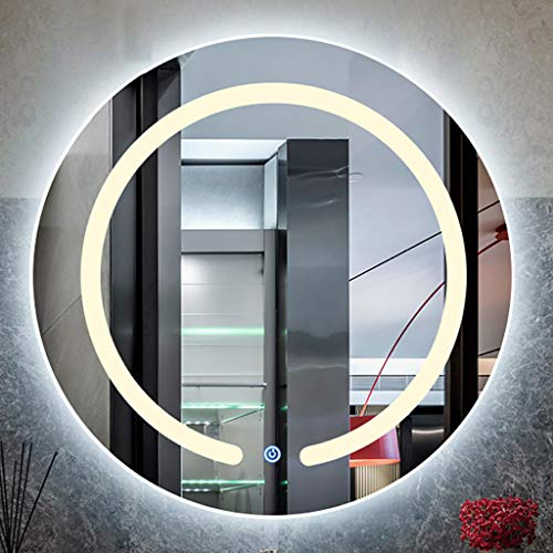 Ronde intelligente LED-verlichte badkamerspiegel aan de muur bevestigde badkamerspiegel met aanraakschakelaar binnen en buiten, diameter: 60 cm/70 cm/80 cm.