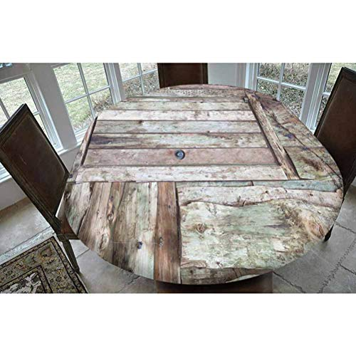 Rustic Polyester Fitted Tablecloth,Old Rustic Barn Door Cottage Country Cabin Theme Rural Mystic Entrance of Home Decorative Oblong Elastic Edge Fitted Table Cover,Fits Oval Tables 68x48' Warm Taupe C