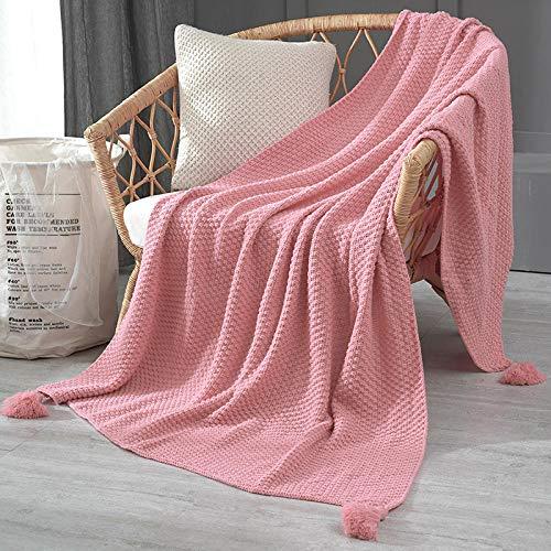 Wohndecke, Weiche & Warme Sofadecke Fleecedecke, als Bettdecke Couchdecke und Tagesdecke-Pink_110x240 cm