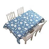 JUNGEN Mantel Rectangular 140 × 230cm Mantel de Marino Serie con Estampado de Estrella de mar y Concha Mantel de algodón y Lino Manteles para Muebles de Patio (Azul 1)