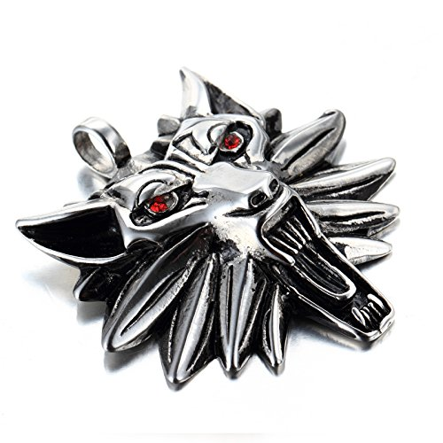 LOPEZ KENT Punk Hombres de Acero Inoxidable Witcher 3 la Cabeza del Lobo con el Collar Pendiente de Ojos Rojos, la Cadena de 23 Pulgadas