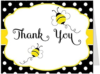 Bee Thank You Cards Bumblebee Folding Thank You Notes Baby Shower Birthday Party Event Bumblebee Teacher Heard The Buzz Gender Neutral Team Green Animal Buzzing With News Yellow Black White (24 count)