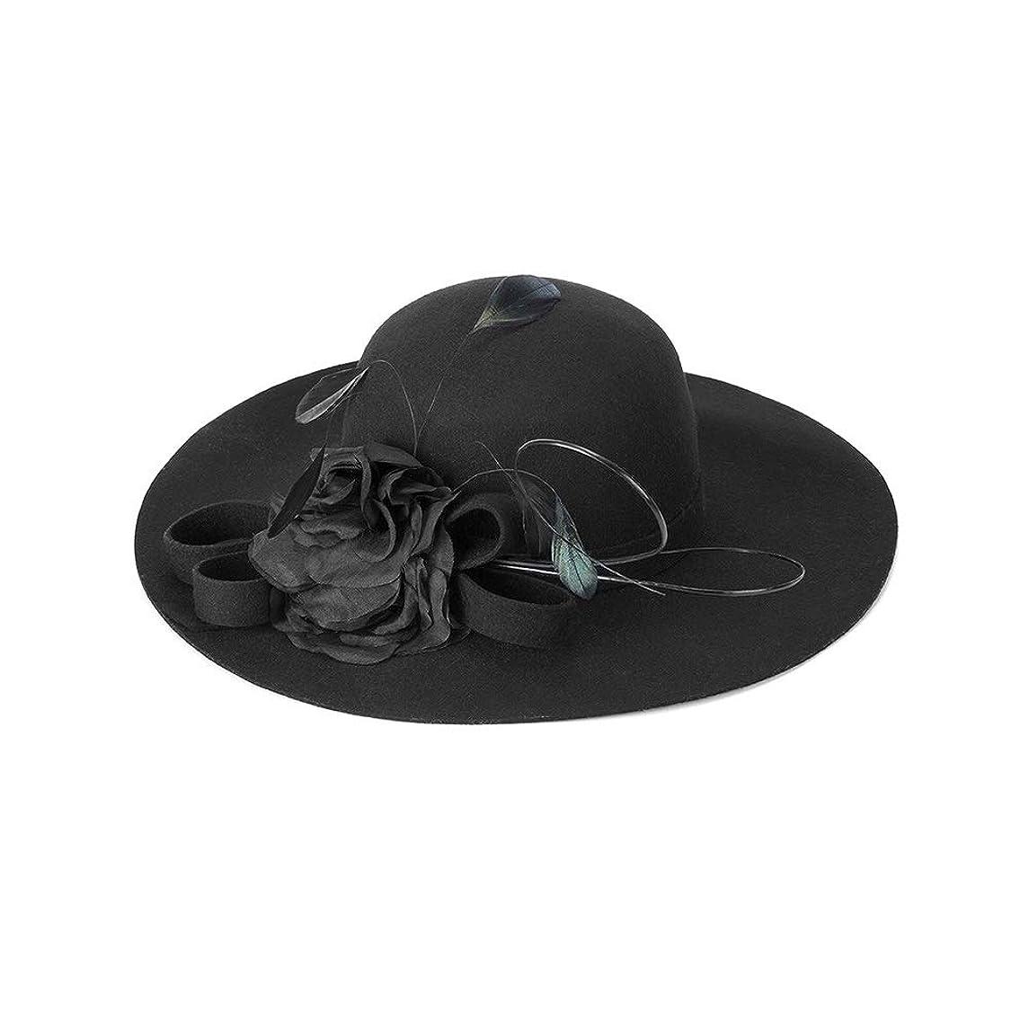 予防接種するも増幅器CHSY 帽子、女性の帽子秋と冬のエレガントな羽の花の帽子暖かい大きな帽子の装飾的な帽子、フリーサイズ ファッション小物 (Color : Black)