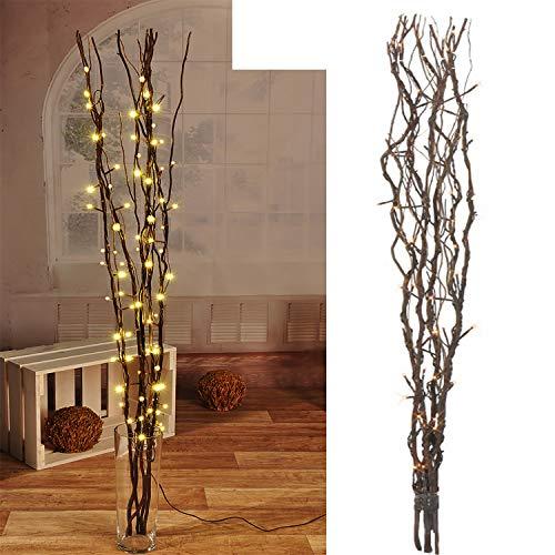 Mojawo® Lichterzweige mit 80 LEDs braun Beleuchtung Lichterkette Leuchtzweig Dekoration Lichter Zweig