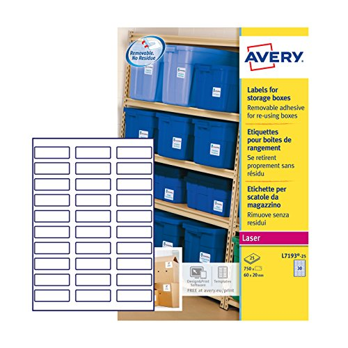 Avery L7193-25 60 x 20 mm verwijderbare opbergdoos, wit, 30 etiketten per A4 vel