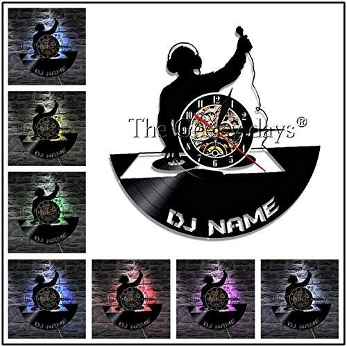 Zhuhuimin 1 stuk DJ Player Mixer muziek Club Party Silhouet geluidsplaat Wandklok DJ platenspeler gepersonaliseerde aangepaste naam Wandklok Wandklok Wandklok Wandklok Wandklok Wandklok Wandklok Muziek 12x12inch Zonder led-licht.