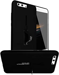 Huawei P10 Plus Matte Shockproof Ring Stand PC+TPU Back Case Cover - Black