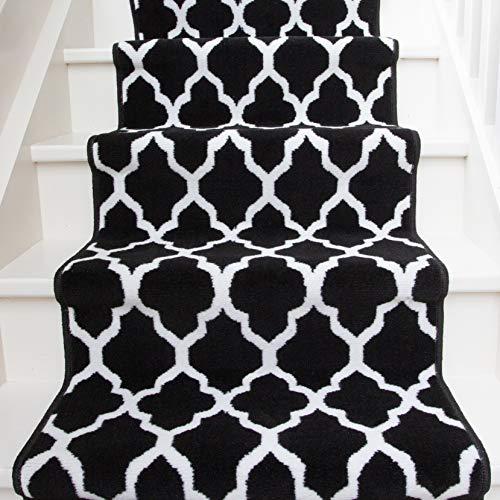 Modern Black Geometric Trellis Stair Carpet Cream Durable Stair Runner Rug Custom Length Width - Sold and Priced Per Foot 2' 3' x 56'