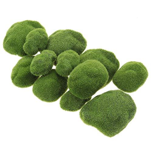 VOSAREA - Imitación de musgo irregular, color verde en forma de piedras, para acuario, jardín, plantas, manualidades, micropaisajes, decoración, plantas artificiales (12 piedras de musgo)