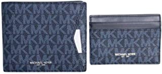 Michael Kors Mens Set Two Piece PVC Leather Billfold Wallet With Card Case Signature Admiral Blue