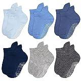 Chalier 6 Pares de Calcetines Antideslizantes para Niños para Bebés Unisex Algodón Transpirable Absorber de Sudor Multicolor