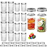 Pack of 16 Mason Jars, Canning Jars, Jelly Jars With Regular Lids, Ideal for Jam, Honey, Baby Foods,...