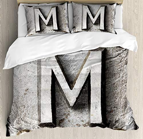 Juego de funda nórdica de la letra M, tipografía del alfabeto de acero de zinc-hierro con imagen de la industria de textura rayada de Grunge, juego de cama decorativo de 3 piezas con 2 fundas
