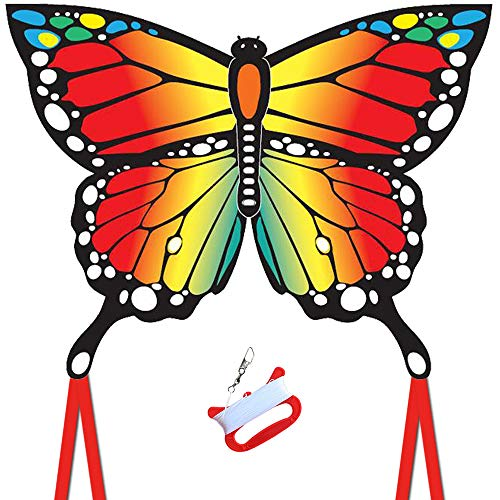 Butterfly Kite for Kids and Audlts, 120x95cm with Long Tails,beginner kite for children,Easy to Assemble and Fly, Easy-grip Handle with 200' String and Swivel,. Awesome Beach and Outdoor Toys