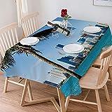Wachstuch Tischdecke 140x200 cm,Coastal Decor, Miami Downtown mit Gebäuden in der Biscayne Bay und P,Rechteckige Tischabdeckung Gartentischdecke für Gastronomie, Feste, Party, Hochzeiten oder Haushalt