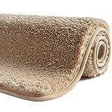 SFLXO Alfombrilla de baño 100 cm x 60 cm, antideslizante, lavable a máquina, antideslizante, suave, absorbente, de microfibra, color crema y beige