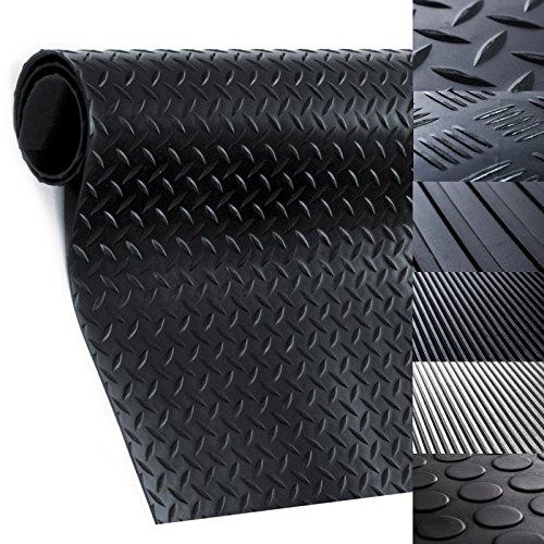 Gummiläufer | Meterware in vielen Größen | Gummimatten mit rutschhemmender Oberflächenstruktur | Tränenblech-Struktur 100x100 cm | Stärke: 3 mm