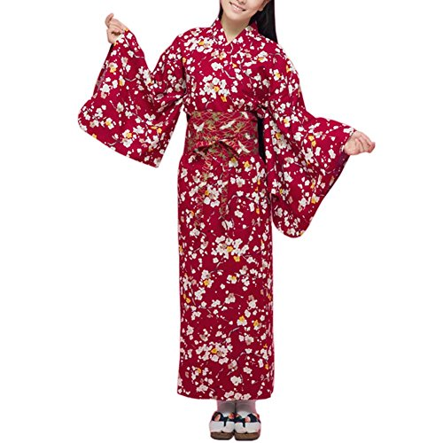 Fancy Pumpkin Albornoz del Traje del Kimono de Las Mujeres del Estilo Retro japonés con la Pretina, Sakura Rojo