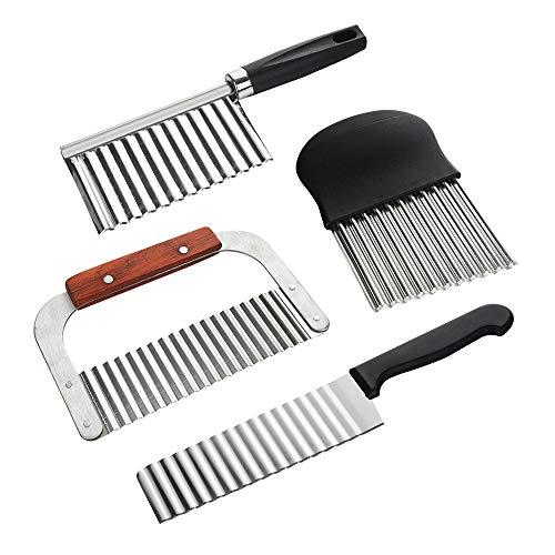 Gobesty Wellenschneider, 4 Stück Wellen Pommesmesser Crinkle-Chopper Kartoffelschneider aus Edelstahl Wellenschnittmesser für Gemüse, Kartoffeln, Zwiebeln, Salat Schneider Werkzeug