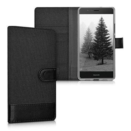kwmobile Wallet Hülle kompatibel mit Huawei P9 Lite - Hülle mit Ständer - Handyhülle Kartenfächer Anthrazit Schwarz