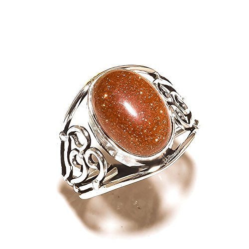 Golden Sunstone! Designer Ring, Best Wire Design, Silver Plated! Handmade Jewelry Art! All Variety Store! Ring Size 9 US(Sizeable)