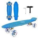 Caroma 22 'x 6' Complet Skateboard Rétro En Plastique Mini Cruiser roulettes Skateboard Roulement ABEC-7 pour Enfants Débutants Adultes, LED Light Up Roues avec Skate T-Tool