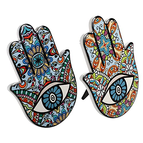 ABOOFAN 2 Piezas Buena Suerte Hamsa Mano Decoración de Pared Hogar Bendición Diseño Oriental Ojo Malvado Protección Amuleto Colorido